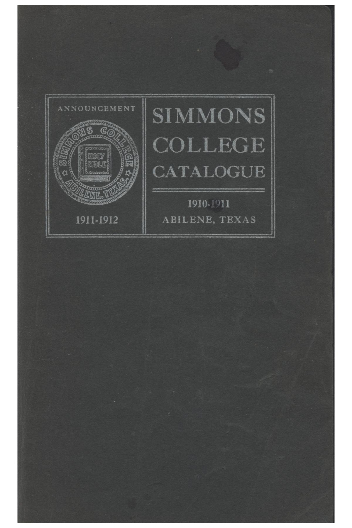 Catalogue of Simmons College, 1910-1911                                                                                                      Front Cover