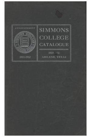 Primary view of object titled 'Catalogue of Simmons College, 1910-1911'.