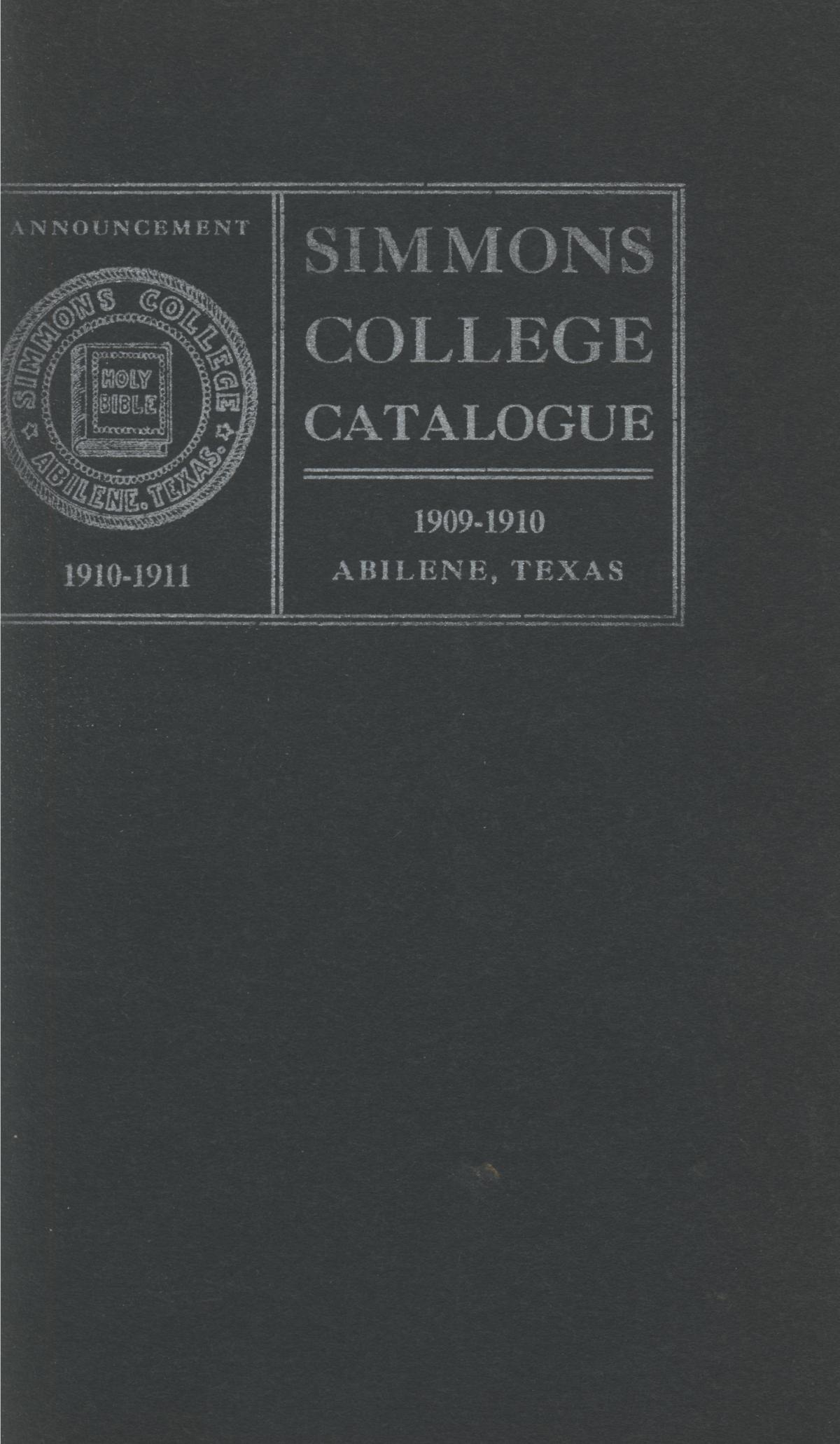 Catalogue of Simmons College, 1909-1910                                                                                                      Front Cover