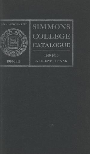 Primary view of object titled 'Catalogue of Simmons College, 1909-1910'.