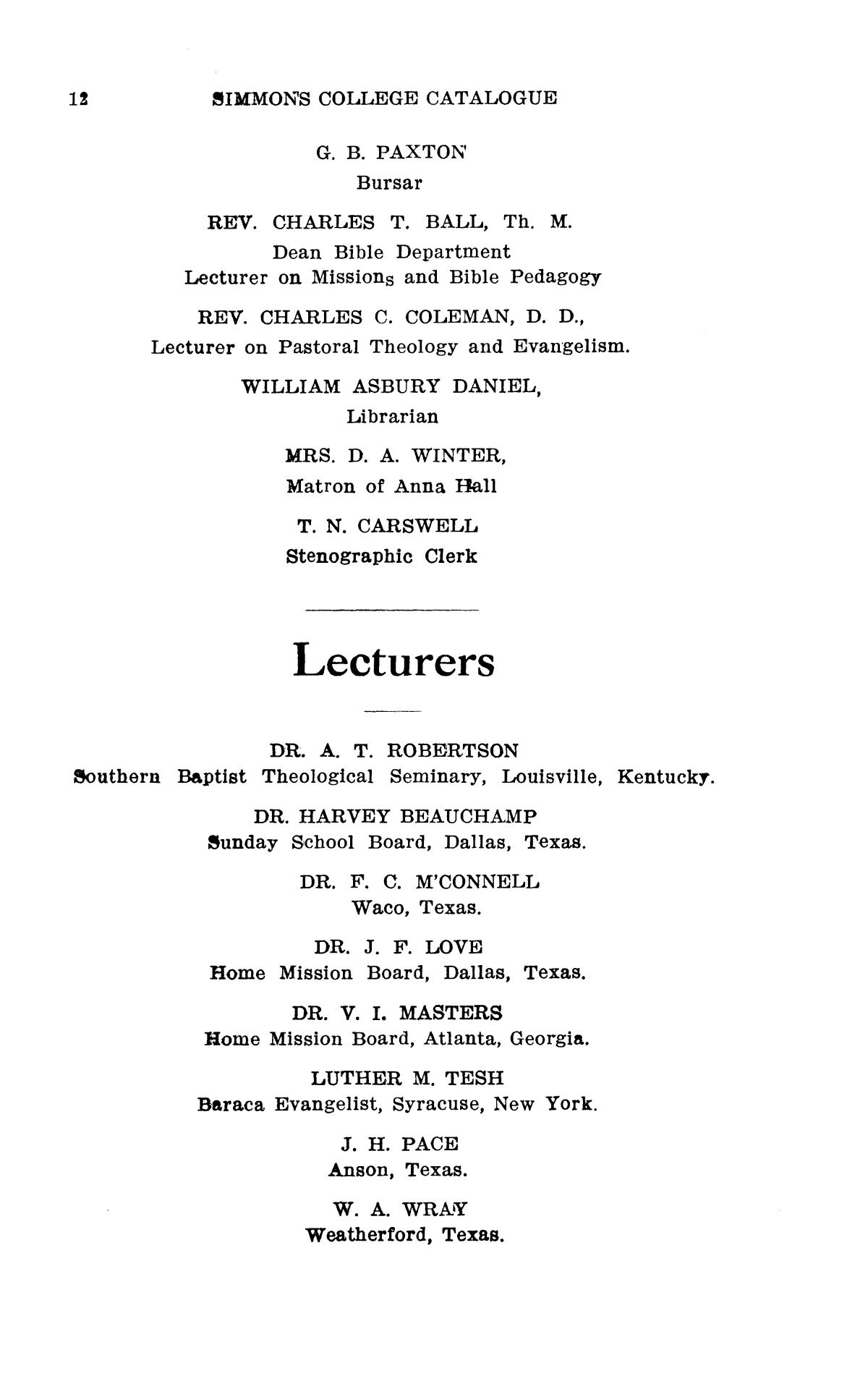 Catalogue of Simmons College, 1909-1910                                                                                                      12