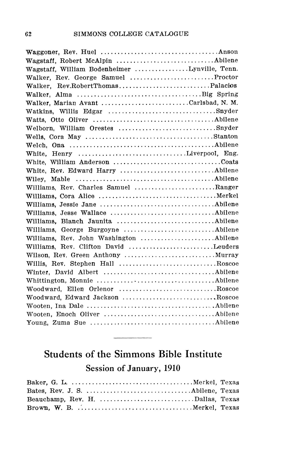 Catalogue of Simmons College, 1909-1910                                                                                                      62