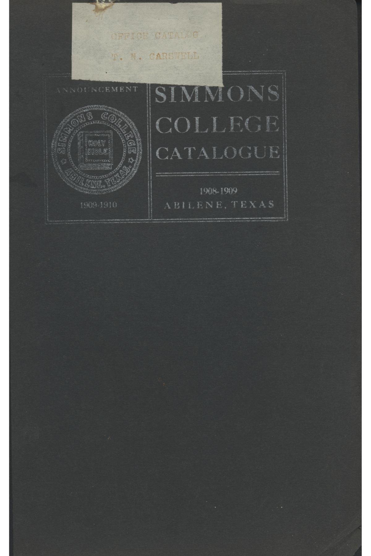 Catalogue of Simmons College, 1908-1909                                                                                                      Front Cover