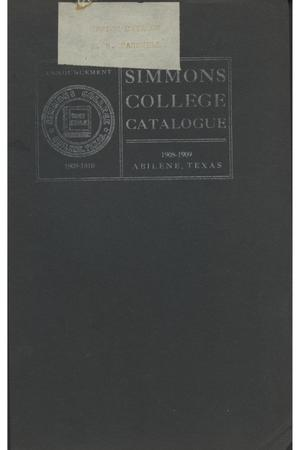 Primary view of object titled 'Catalogue of Simmons College, 1908-1909'.