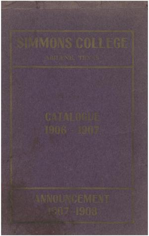 Primary view of Catalogue of Simmons College, 1906-1907