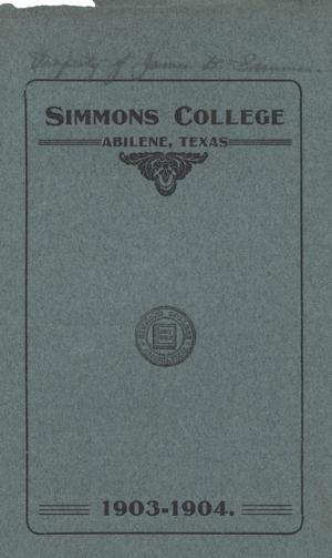 Primary view of object titled 'Catalogue of Simmons College, 1903-1904'.
