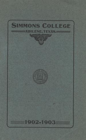 Primary view of object titled 'Catalogue of Simmons College, 1902-1903'.