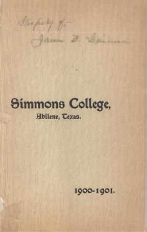 Primary view of object titled 'Catalogue of Simmons College, 1900-1901'.