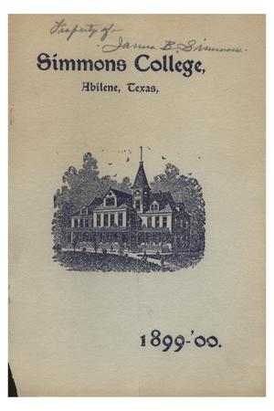 Primary view of object titled 'Catalogue of Simmons College, 1899-1900'.