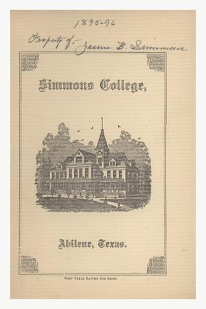 Primary view of object titled 'Catalogue of Simmons College, 1895-1896'.