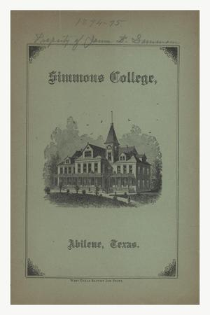 Primary view of object titled 'Catalogue of Simmons College, 1894-1895'.