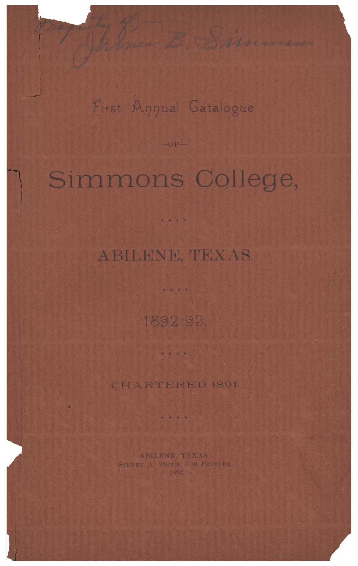 Catalogue of Simmons College, 1892-1893                                                                                                      Front Cover