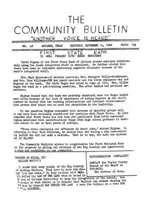 Primary view of object titled 'The Community Bulletin (Abilene, Texas), No. 48, Saturday, September 14, 1968'.