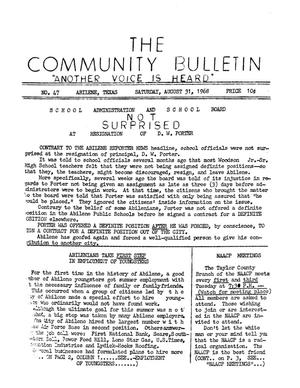 Primary view of object titled 'The Community Bulletin (Abilene, Texas), No. 47, Saturday, August 31, 1968'.