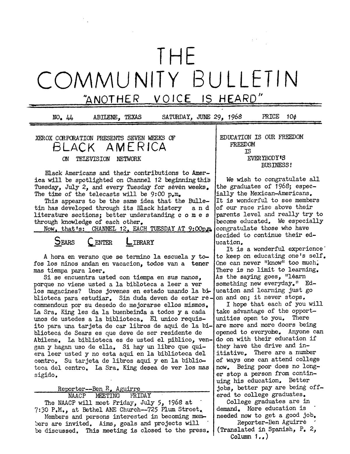 The Community Bulletin (Abilene, Texas), No. 44, Saturday, June 29, 1968                                                                                                      1