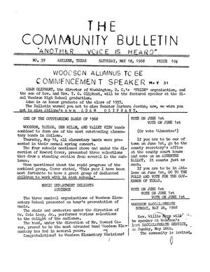 Primary view of object titled 'The Community Bulletin (Abilene, Texas), No. 39, Saturday, May 18, 1968'.