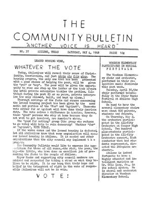 Primary view of object titled 'The Community Bulletin (Abilene, Texas), No. 37, Saturday, May 4, 1968'.