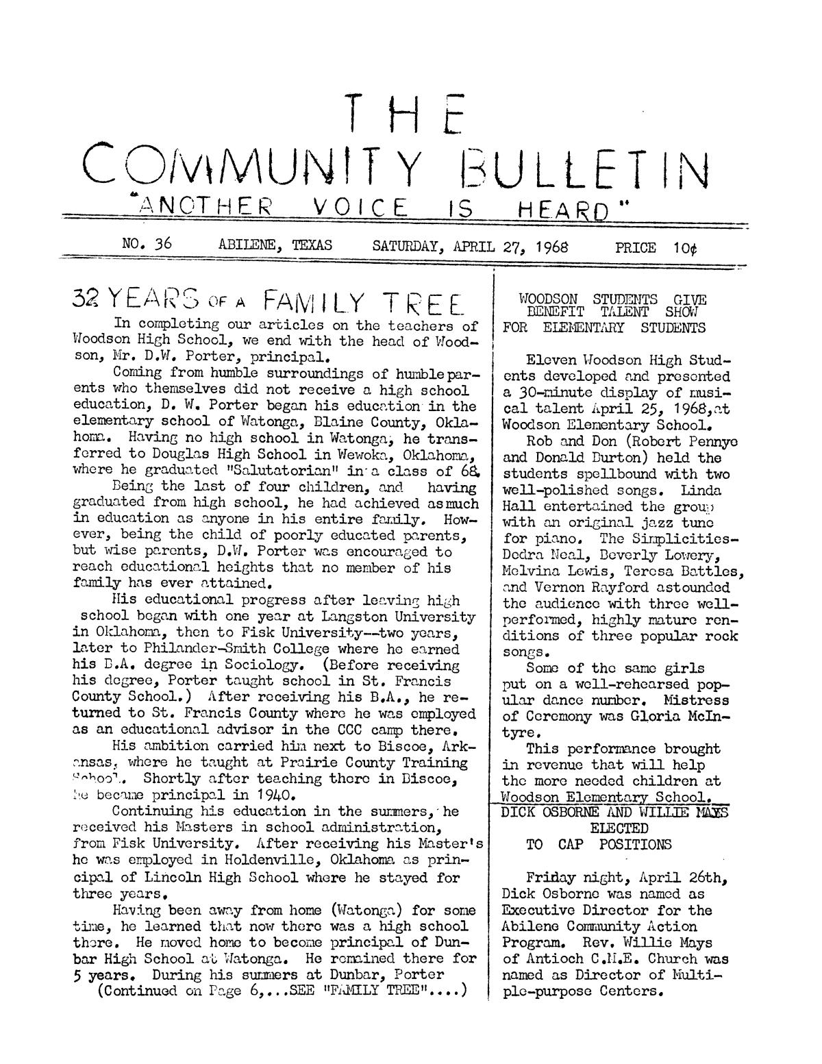 The Community Bulletin (Abilene, Texas), No. 36, Saturday, April 27, 1968                                                                                                      1