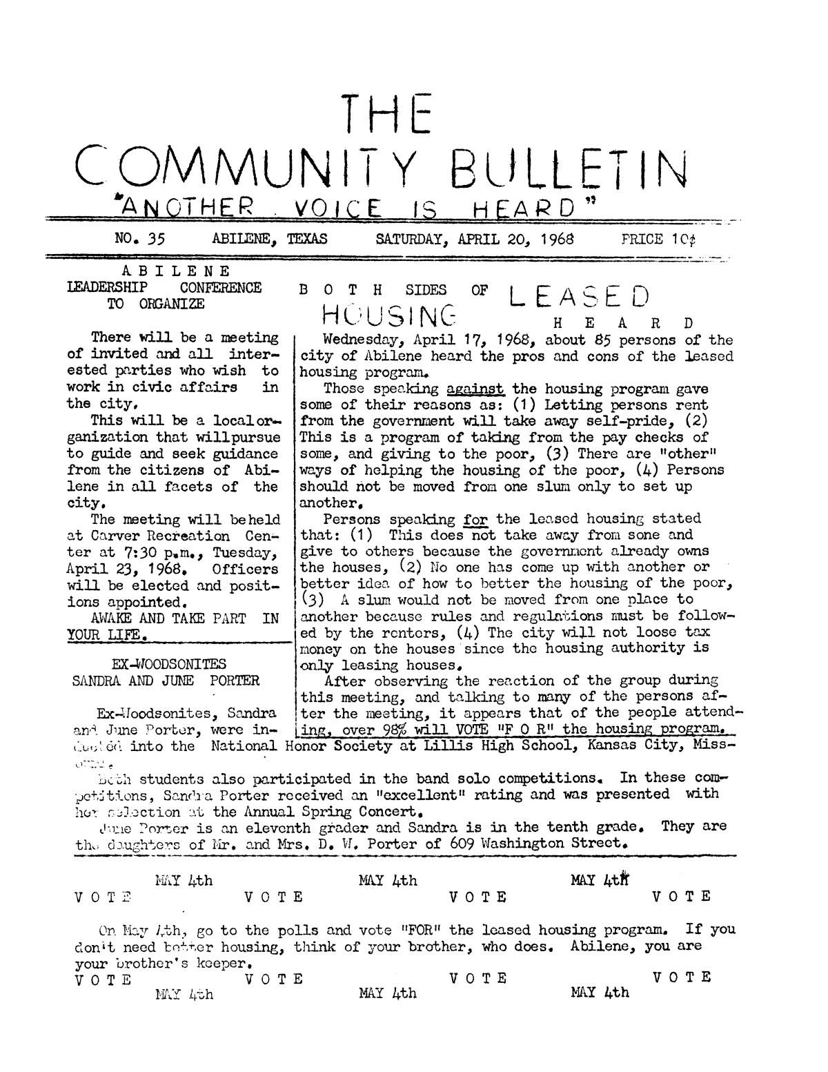 The Community Bulletin (Abilene, Texas), No. 35, Saturday, April 20, 1968                                                                                                      1