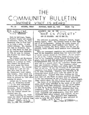 Primary view of object titled 'The Community Bulletin (Abilene, Texas), No. 33, Saturday, March 30, 1968'.