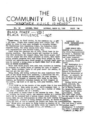 Primary view of object titled 'The Community Bulletin (Abilene, Texas), No. 32, Saturday, March 23, 1968'.