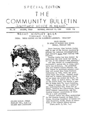 Primary view of object titled 'The Community Bulletin (Abilene, Texas), No. 26, Saturday, February 10, 1968'.