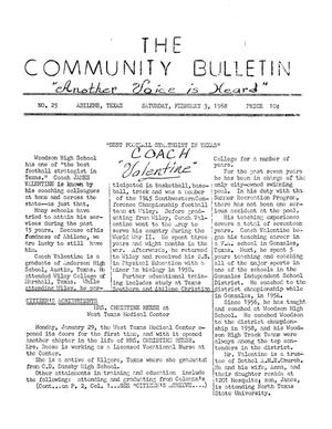 Primary view of object titled 'The Community Bulletin (Abilene, Texas), No. 25, Saturday, February 3, 1968'.