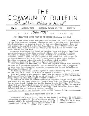 Primary view of object titled 'The Community Bulletin (Abilene, Texas), No. 24, Saturday, January 27, 1968'.