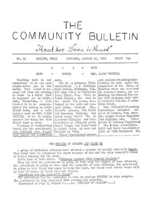 Primary view of object titled 'The Community Bulletin (Abilene, Texas), No. 23, Saturday, January 20, 1968'.