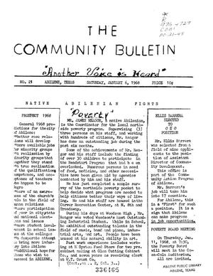 Primary view of object titled 'The Community Bulletin (Abilene, Texas), No. 21, Saturday, January 6, 1968'.