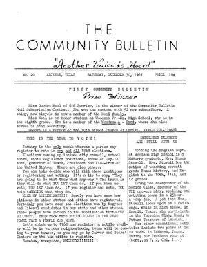 Primary view of object titled 'The Community Bulletin (Abilene, Texas), No. 20, Saturday, December 30, 1967'.