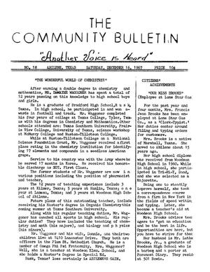 Primary view of object titled 'The Community Bulletin (Abilene, Texas), No. 18, Saturday, December 16, 1967'.