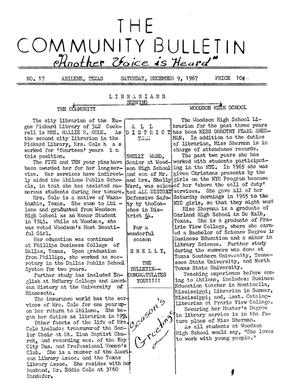 Primary view of object titled 'The Community Bulletin (Abilene, Texas), No. 17, Saturday, December 9, 1967'.