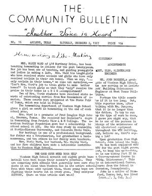 Primary view of object titled 'The Community Bulletin (Abilene, Texas), No. 16, Saturday, December 2, 1967'.