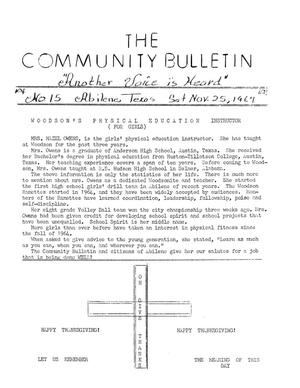 Primary view of object titled 'The Community Bulletin (Abilene, Texas), No. 15, Saturday, November 25, 1967'.