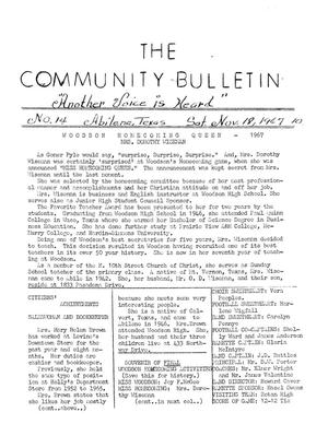 Primary view of object titled 'The Community Bulletin (Abilene, Texas), No. 14, Saturday, November 18, 1967'.