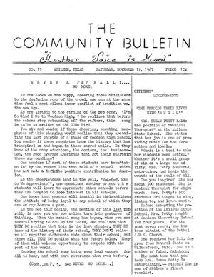 Primary view of object titled 'The Community Bulletin (Abilene, Texas), No. 13, Saturday, November 11, 1967'.