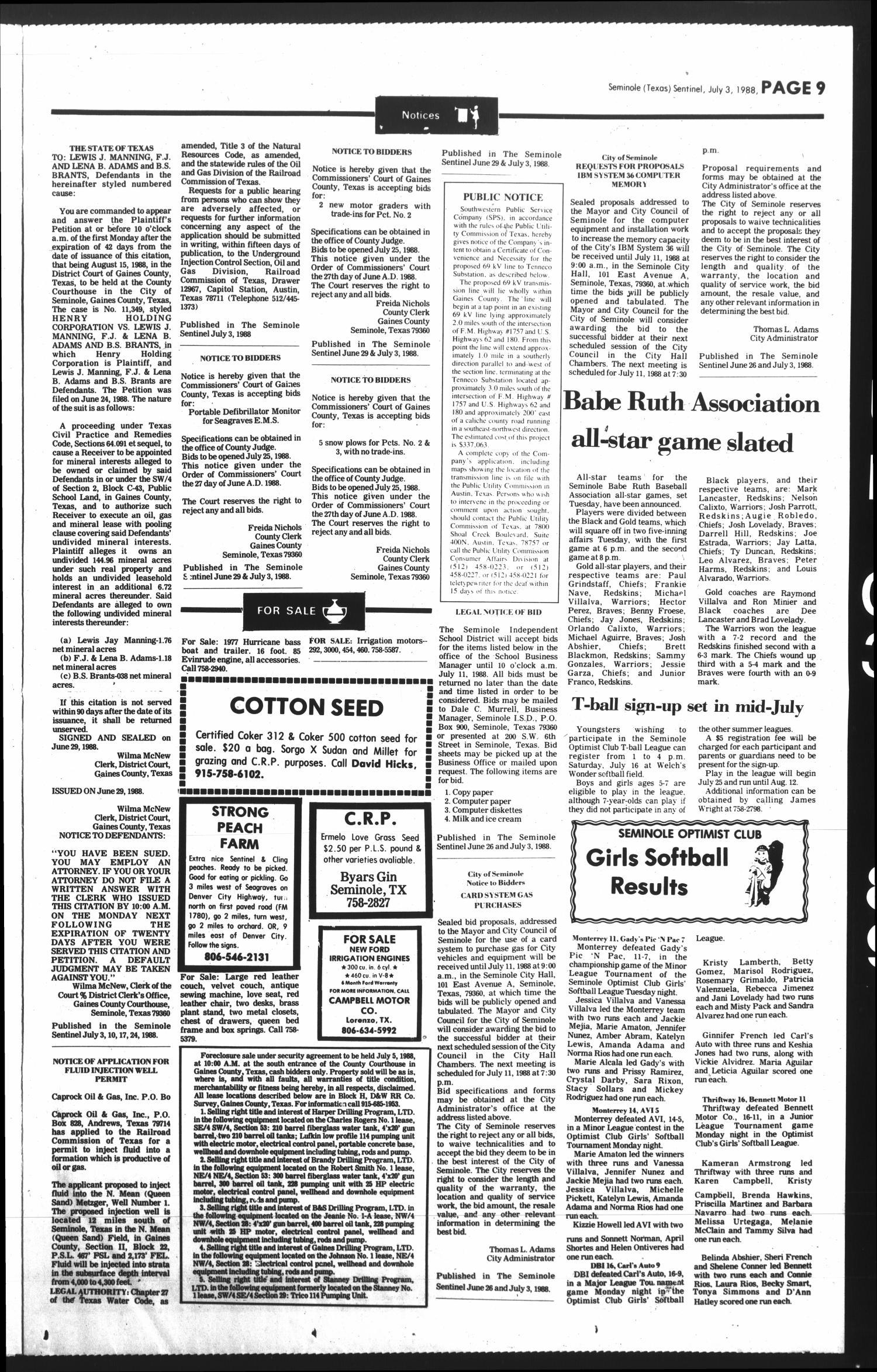 The Seminole Sentinel Tex Vol 81 No 71 Ed 1 Sunday July 3 1988 Page 9 Of 10 Portal To Texas History