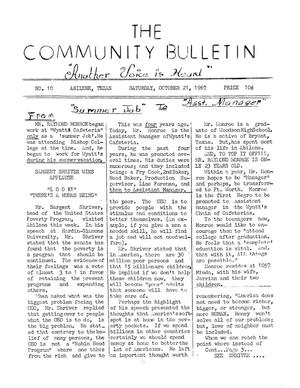 Primary view of object titled 'The Community Bulletin (Abilene, Texas), No. 10, Saturday, October 21, 1967'.