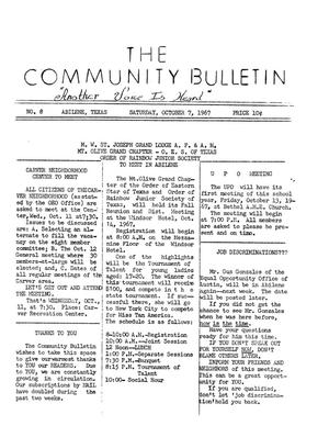 Primary view of object titled 'The Community Bulletin (Abilene, Texas), No. 8, Saturday, October 7, 1967'.