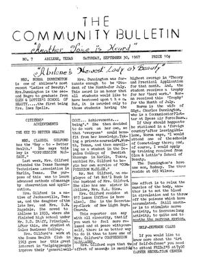 Primary view of object titled 'The Community Bulletin (Abilene, Texas), No. 7, Saturday, September 30, 1967'.