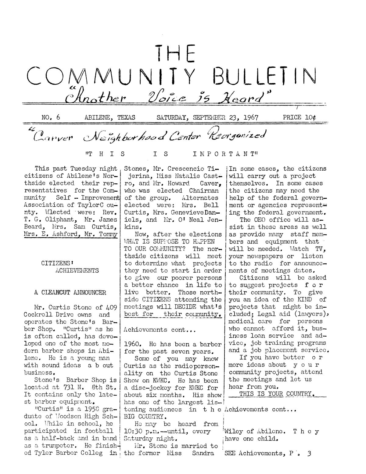 The Community Bulletin (Abilene, Texas), No. 6, Saturday, September 23, 1967                                                                                                      1