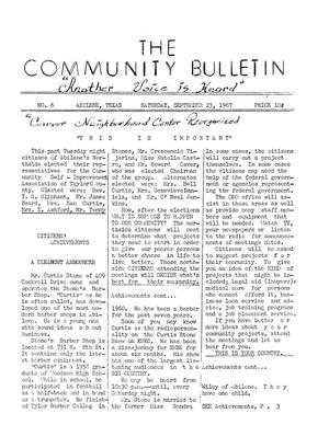 Primary view of object titled 'The Community Bulletin (Abilene, Texas), No. 6, Saturday, September 23, 1967'.
