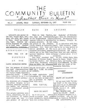 Primary view of object titled 'The Community Bulletin (Abilene, Texas), No. 5, Saturday, September 16, 1967'.