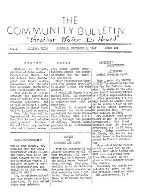 Primary view of object titled 'The Community Bulletin (Abilene, Texas), No. 4, Saturday, September 9, 1967'.