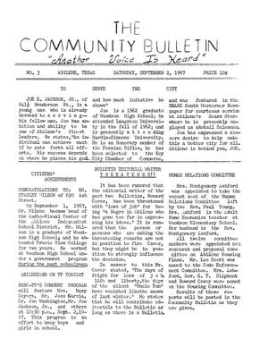 Primary view of object titled 'The Community Bulletin (Abilene, Texas), No. 3, Saturday, September 2, 1967'.