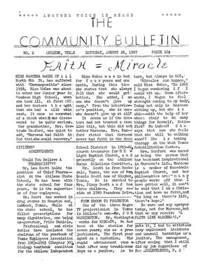 Primary view of object titled 'The Community Bulletin (Abilene, Texas), No. 2, Saturday, August 26, 1967'.