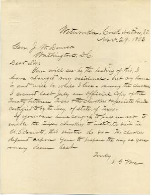 [Letter from I.G. Vore to J.W. Denver, November 29, 1883]