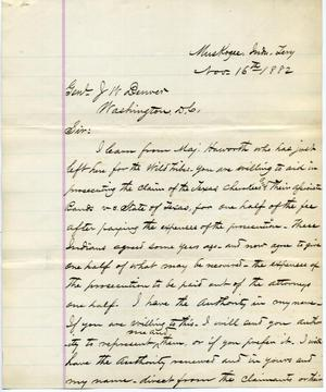 [Letter from I.G. Vore to J.W. Denver, November 16, 1882]