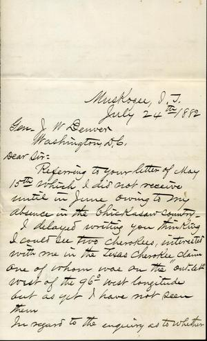 [Letter from I.G. Vore to J.W. Denver, July 24, 1882]